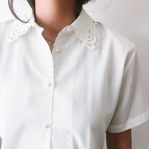 Vintage Intricate White Top with Collar